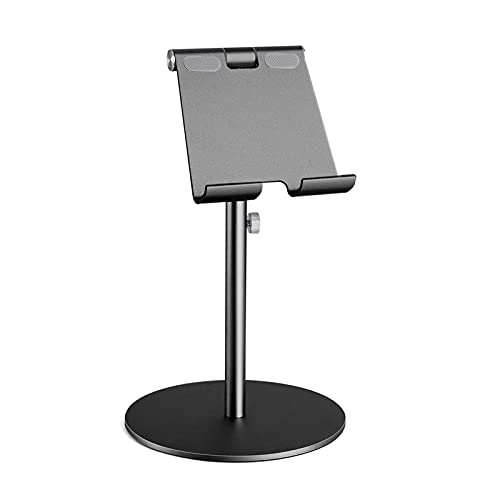 Tablero de Aluminio de rotación de 360 ° de Gran tamaño 360 °, Tableta de Aluminio Ajustable en Altura, Tableta de Escritorio para iPad Tab Kindle Nintendo Switch (4-13') (Color : Black)
