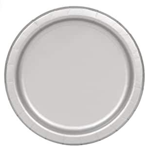 Ayush party Supplies Party Tableware Paper Plates for Weddings, Anniversary, Birthday, Multipurpose Occasions is Party Disposable Round Plates,Pack of 20(7inch/17cm) (Silver)