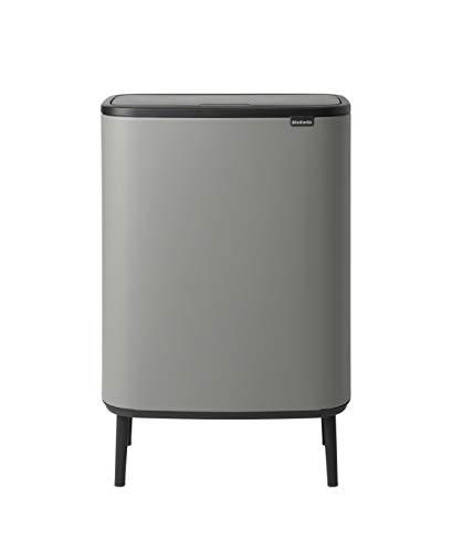Brabantia Bo Touch Abfalleimer Hi Recycling 2x30 Liter, mienral grau
