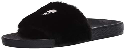 PJ Salvage Women's Faux Fur Slides Slipper, Black, S
