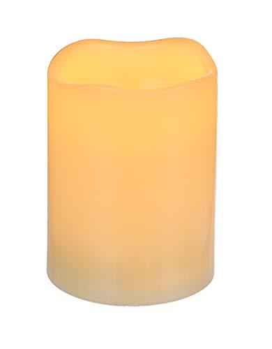 OOTB Ivoor Gekleurde Plastic Kaars met Warm Wit LED en Timer, 7, 5x12cm