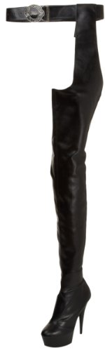 Pleaser DELIGHT-5000 Blk STR Faux Leather/Blk Matte UK 3 (EU 36)