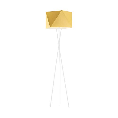 Lámpara de pie Dakar con pantalla de lámpara, color amarillo mostaza, marco blanco