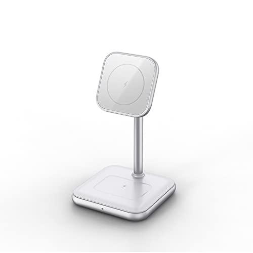 LAHappy Cargador Inalámbrico Magnético 3 en 1, 15W Carga Rápida, Base de Carga Inalámbrica para iPhone 12/12 Pro / 12 Pro MAX / 12 Mini, AirPods Pro,Blanco