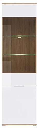 Boardd - Mueble de cristal de pie con 1 puerta de cristal, color roble Wotan y blanco brillante, 56 x 195 x 41 cm