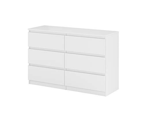 Kommode Weiß mit 6 Schubladen 120cm Klamottenschrank Modern Schrank Matt