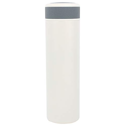 Botella de agua aislada de 500 ml con pantalla de temperatura, taza de viaje con frasco de vacío de acero inoxidable, mantener frío 12 h mantener caliente 24 h(blanco)