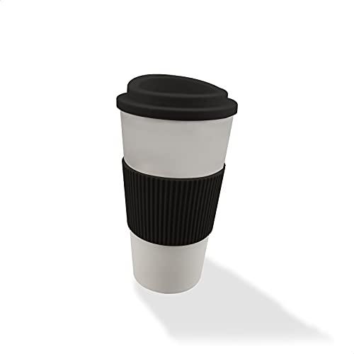 EUROXANTY Vaso de Café Termo | Taza Ecológica Reutilizable | Protector Térmico y Antideslizante | 500 Mililitros | Negro |