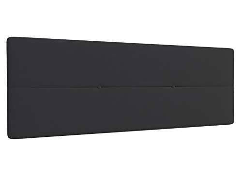 LA WEB DEL COLCHON Cabecero de Cama tapizado Acolchado Camile 145 x 55 cms Apto para Camas de 120 y 135 Textil Poliester Gris Oscuro Incluye herrajes para Colgar con regulador de Altura