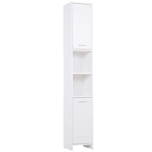 HOMCOM Schrank, Spanplatte, Metall, weiß, 30L x 30W x 190Hcm
