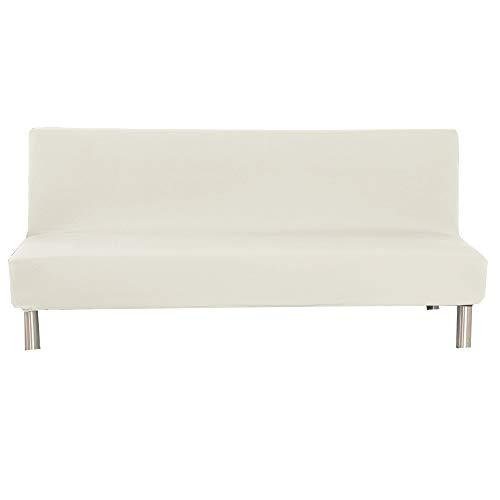 Sofabezug Ohne Armlehnen 3 Sitzer, Spandex Couch Bezug Ohne Armlehne Elastischer Antirutsch Stretchhusse, Bettcouch Schonbezug Einfarbig (Beige)