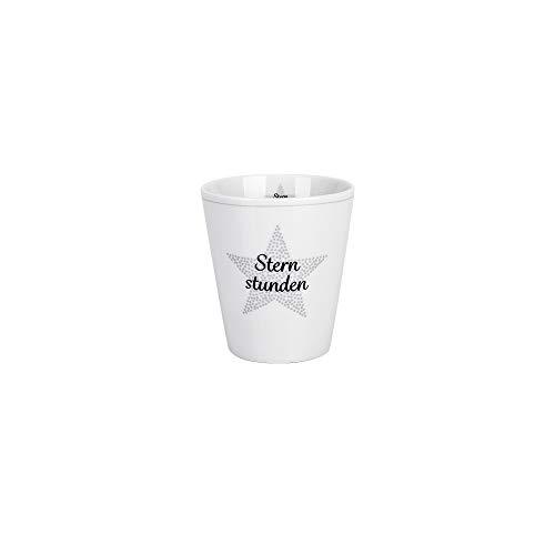 Krasilnikoff - Becher, Tasse - Happy Mugs - Sternstunden - weiß, grau - ca. 330 ml - Höhe: 10 cm