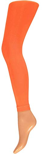 krautwear Damen Mädchen Leggins Leggings60 den Karneval Fasching Kostüm schwarz rot rosa blau (orange-LXL)