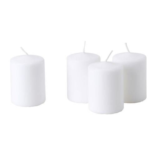 HEMSJÖ Unscented block candle, white, Pack of 4, Diameter: 6 cm Height: 8 cm Burning time: 15 hr.