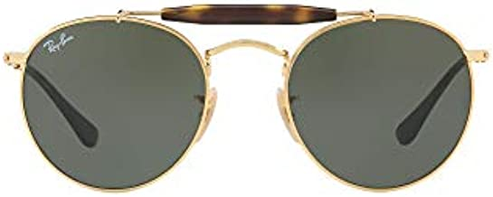 Ray-Ban RB3747 Round Metal Sunglasses, Arista/Green, 50 mm