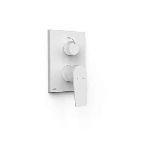 Grifo monomando empotrado de 2 vías Rapid-Box para ducha, gama Project-Tres, con cuerpo empotrado incluido, maneta, 6 x 11,8 x 20,5 centímetros, acabado blanco mate (referencia: 21128001BM)