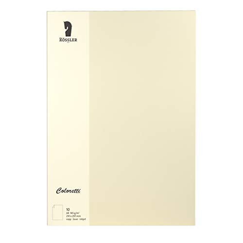 Rössler 220726512 Coloretti Briefpapier, 165g/m², DIN A4, 10 Blatt, creme