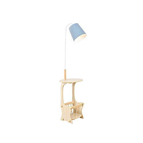 WEHOLY Lámparas de pie - Lámpara de pie nórdica Lámpara Vertical Sala de Estar Dormitorio Sofá de cabecera Estante multifunción - Iluminación de Accesorios de diseño (Color: Azul)