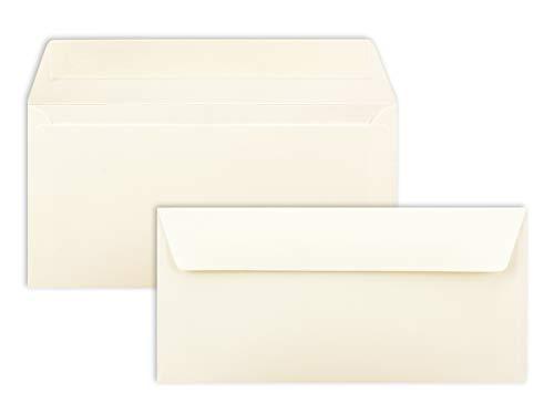 100 Brief-Umschläge DIN Lang - Naturweiß - 110 g/m² - 11 x 22 cm - sehr formstabil - Haftklebung - Qualitätsmarke: FarbenFroh by GUSTAV NEUSER®