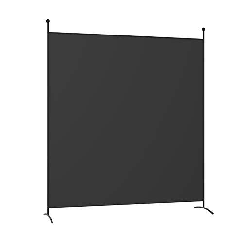 COSTWAY Separador de Ambientes Portátil 180x186cm Biombo de Individual con Soporte Pantalla de Privacidad para Casa Oficina Dormitorio (Negro)
