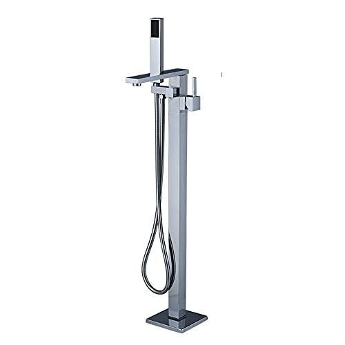 MRTYU-UY Grifo Independiente para Montaje en el Suelo, grifos mezcladores de Ducha de baño de pie, Grifo de bañera de baño de una manija Cuadrada con Ducha de Mano, Cromo