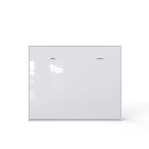 Invento Armario cama plegable de pared horizontal con cama plegable integrada, habitación de invitados, salón, dormitorio, 160 x 200 cm (blanco/blanco mate)