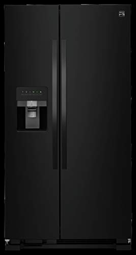 Kenmore 50049 25 cu. ft. Side-by-Side Refrigerator with Ice Maker with Window in Black,...