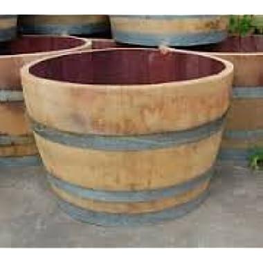 MGP Genuine Oak Wood Half Wine Barrel Planter, 27 W x 16 H