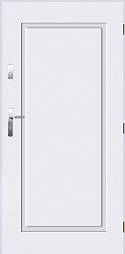 Tür Warme Stahltür Außentür Wohnungseingangstür Pantor FLAMENCO 80 90 4 Farbe (Weiß, [90] 990 x 2065 mit einem Türrahmen Links)