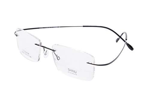 SHINU Montatura Senza Montatura in Titanio MR-7 Occhiali da Vista Personalizzati con Luce Blu Anti-Blu-NS021(C2,anti blu-3.25)