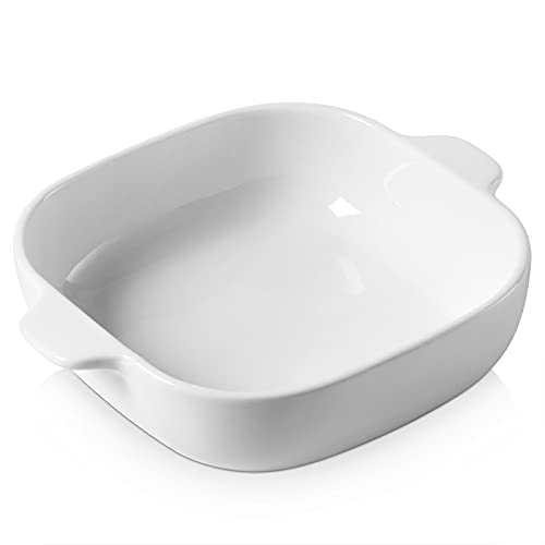 DOWAN Ceramic Baking Dish, 8x8 Baking Pan with Double Handles, Ceramic Oven Bakeware - Square Baking Dish for Gratin, Roasted Meat, Lasagna, Casseroles, Brownies, Desserts, White