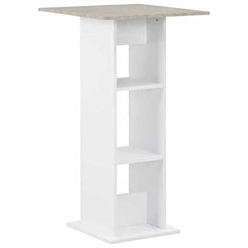 vidaXL Bartisch mit 2 Regalen Stehtisch Bartresen Tresentisch Bistrotisch Küchentisch Tisch Loungetisch Esstisch Frühstückstisch Weiß 60x60x110cm