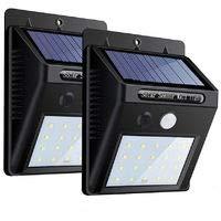 [2 Pezzi] 20 LED Luci Solari Esterno,【2019 Ultimi Modelli 】Luce Solare Sensore con Movimento Esterna, Impermeabile IP65, 120ºIlluminazione Lampada Solare per Giardino