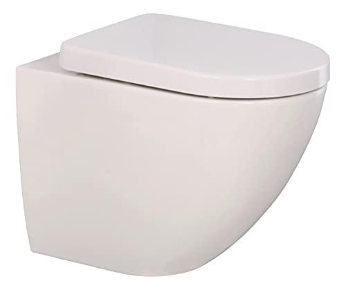 'aquaSu® Spülrandloses Wand-WC aCobo +5 cm mit WC-Sitz   Komfort-Erhöhung: 5 cm   Sitz mit Absenkautomatik   Tiefspüler   Abgang waagerecht   Hänge-Toilette   Sanitärkeramik   weiß   04877 4