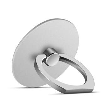 Soporte para teléfono móvil 360 grados Anillo de dedo de oreja de gato Soporte para teléfono móvil Soporte para teléfono inteligente (color: plata)