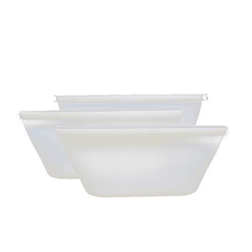 Bolsa de mantenimiento fresco bolsa de envasado de alimentos de silicona al vacío Bolsa Ziplock bolsa de sopa bolsa de almacenamiento de alimentos congeladosJuego de tazón blanco de 3 piezas