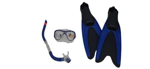 Kit, Juego para Snorkel, Snorkeling con Estuche, Set de Buceo con Aletas, Gafas y Tubo - Color Azul (XL)