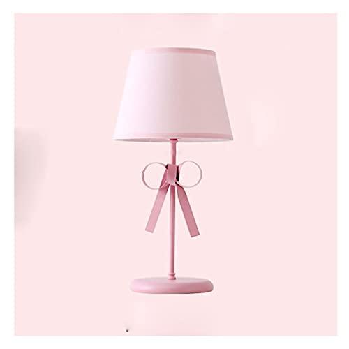 LIUMLIANG Lámpara de mesa romántica con lazo rosa Eyecare Princess Lámpara decorativa para sala de estar, estudio,...