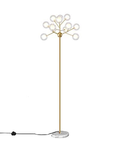 Dellemade Sputnik Kronleuchter Stehlampe, 12-Licht LED Standleuchten mit Farbton aus Glas, Messing