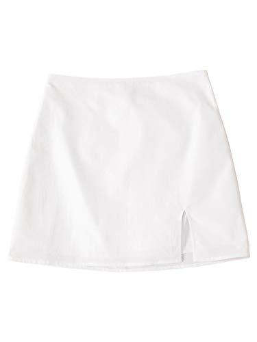 Floerns Women's Summer Basic Split Hem Casual Solid Bodycon Mini Skirt White S