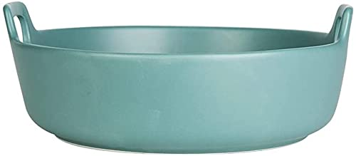 Round Ceramic Baking Trays with Handle for Oven, Ceramic Baking Pan Lasagna Casserole Pan ,Individual Baking Pans,Binaural Plate, Soup Bowl-Blue||700ml