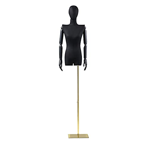 LLSS Torso de maniquí Femenino, Marco de exhibición de Ropa Resistente de Media Longitud con Brazo de Madera Maciza, Forma de Vestido de Mujer Ajustable para Tienda, sopo