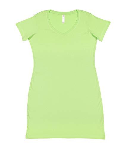 LAT Ladies' 100% Cotton Jersey Short Sleeve V-Neck Swim Cover-up Dress (Key Lime, Small/Medium)