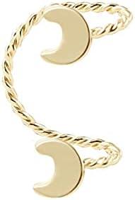 Double Moon Ear Hook Ear Clip Cuff Earrings Moon Ear Clips Earring Ear Cuffs Ear Climber For Women Girls