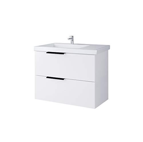 Planetmöbel Badmöbelset Komplettset aus Waschbeckenunterschrank mit Waschbecken & Hochschrank, Farbe Weiß