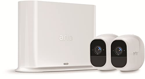 Arlo Pro2 Wireless Home Security Camera System CCTV, Wi-Fi, Alarm, Rechargeable, Night Vision, Indoor or Outdoor, 1080p, 2-Way Audio, Free Cloud Storage, 2 Camera Kit, VMS4230P