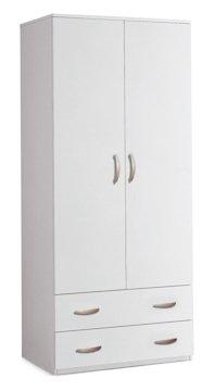 Valentini Eco Armadio 2 Ante e 2 Cassetti, Legno, Bianco, 52x81x175 cm