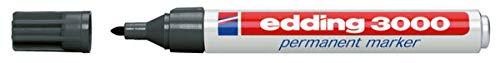 edding 3000 Permanentmarker - grau - 1 Stift - Rund-Spitze 1,5-3 mm - schnell trocknender Permanent Marker - wasserfest, wischfest - für Karton, Kunststoff, Holz, Metall - Universalmarker