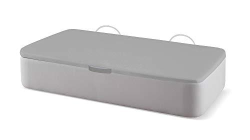 Naturconfort Canapé Abatible Ecopel Plata Brillo Premium Tapizado Apertura Lateral Tapa 3D Gris 80x180cm Envio y Montaje Gratis