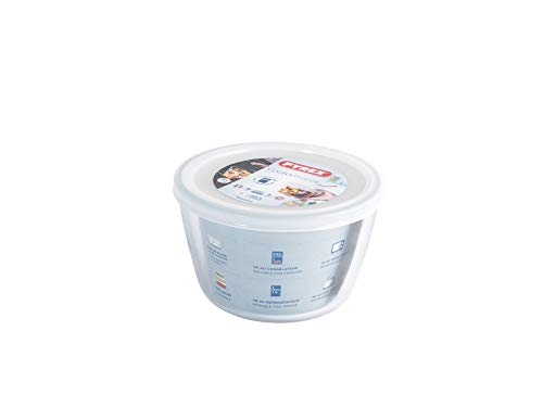 Pyrex Cook&Freeze Recipiente Redondo con Tapa, 15cm-1,1L, Vidrio borosilicato Extra Resistente, Apto para Horno, 1.1L